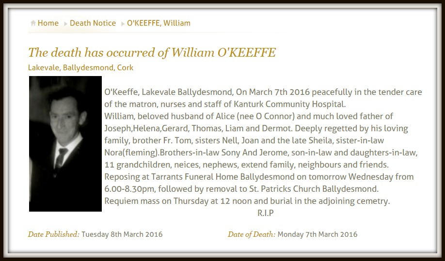 Willie O'Keeffe RIP 2016