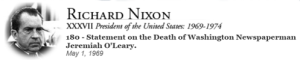 President Nixon Statement on Jeremiah's passing.