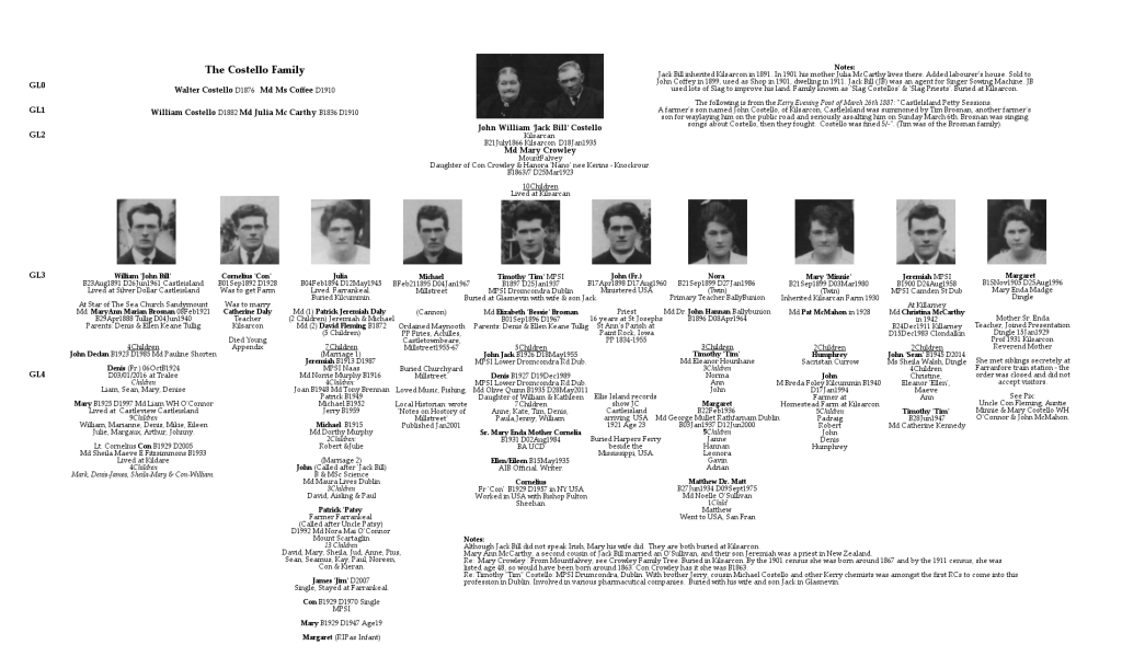 Family Tree: Family of GL2 Jack Bill Costello & Mary Crowley, Kilsarcon.